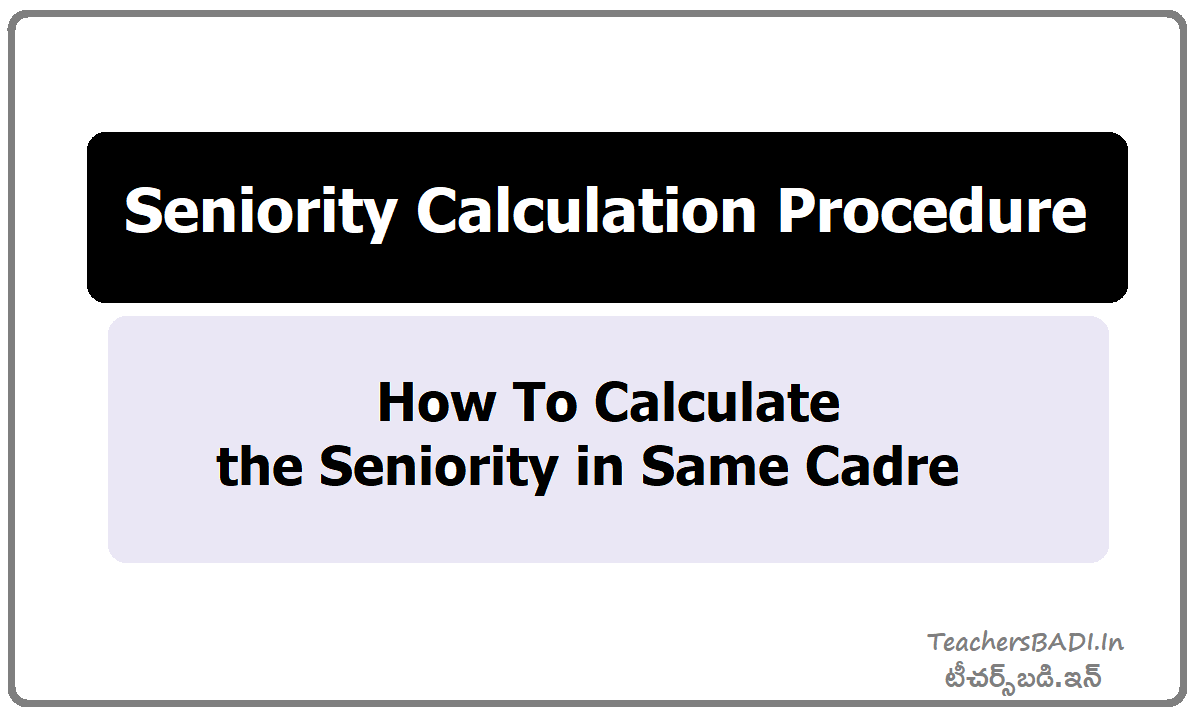 How To Calculate the Seniority in Same Cadre & Seniority Calculation Procedure