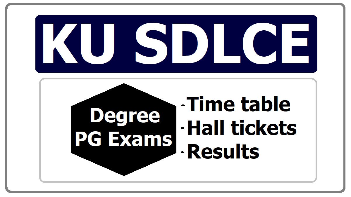 KU SDLCE Degree & PG Exams Time table, Hall tickets, Results