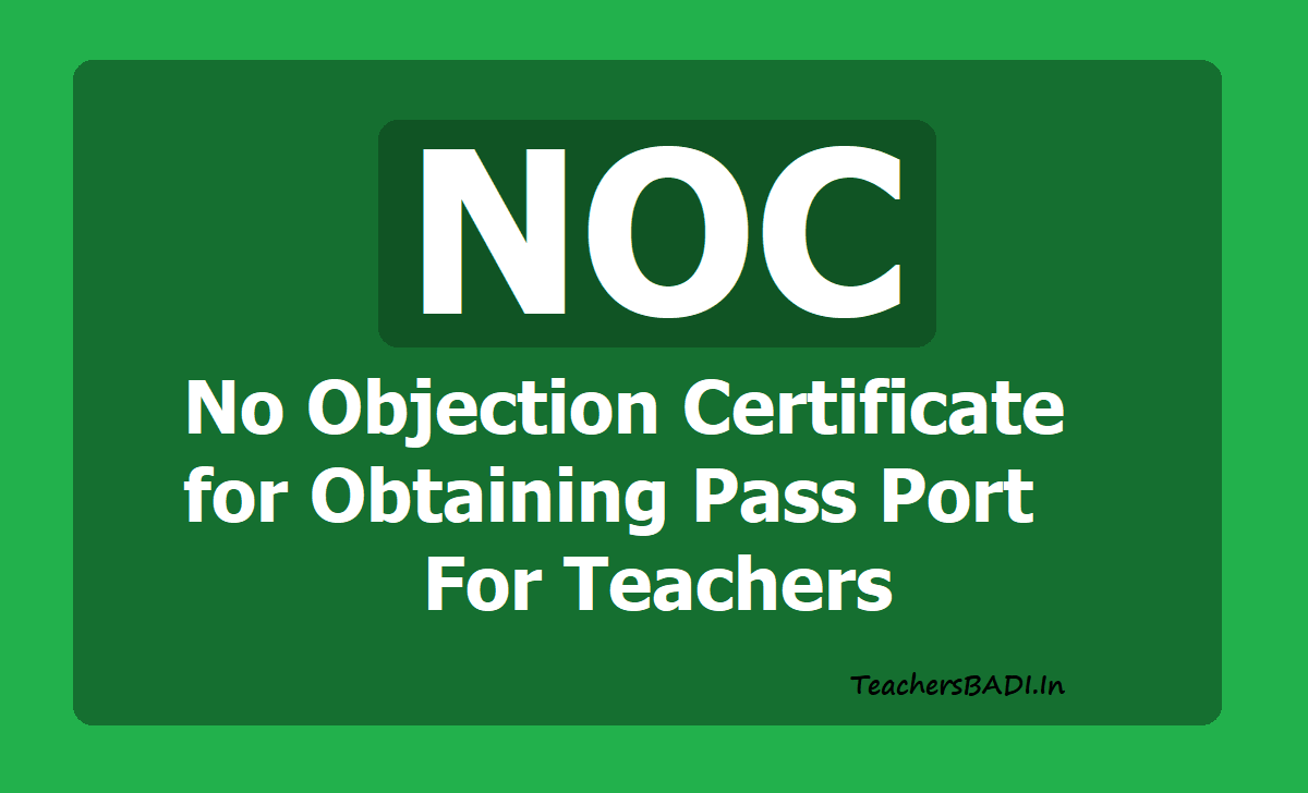 NOC No Objection Certificate Proforma for Obtaining Pass Port For Teachers