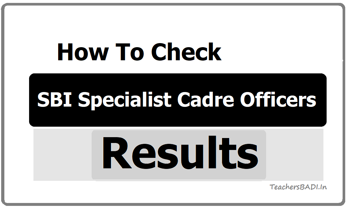 SBI SO Specialist Cadre Officers Results
