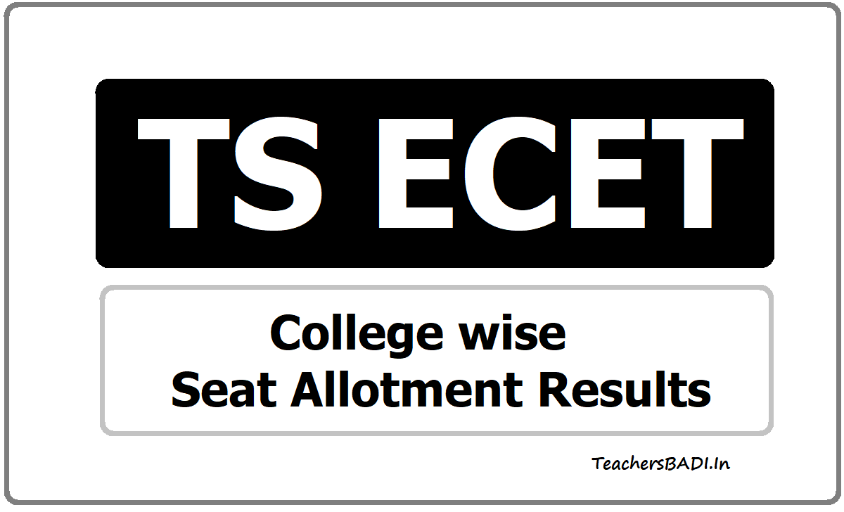 TS ECET College wise Seat Allotment Results 2020