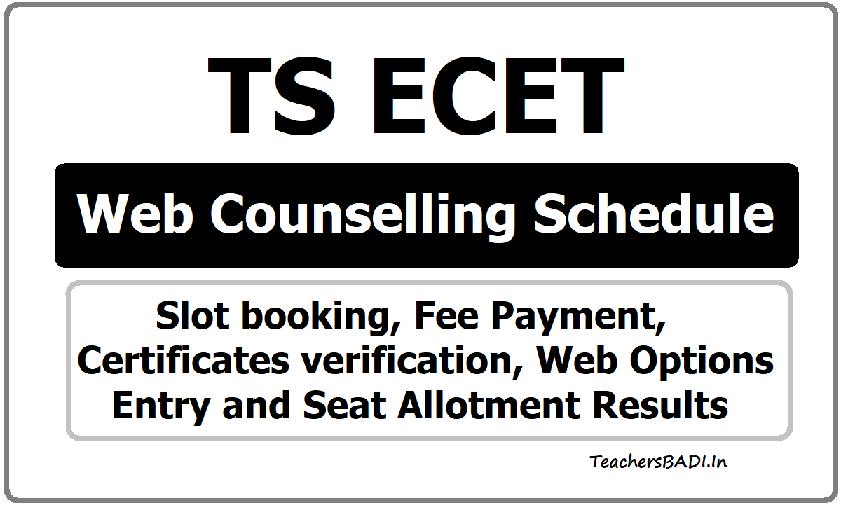 TS ECET Web Counselling Schedule