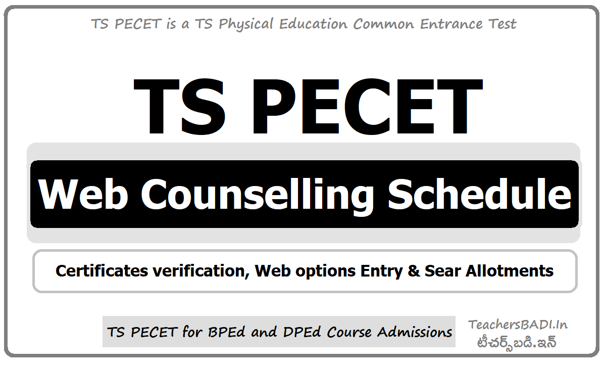 TS PECET Web Counselling Schedule for Certificates verification & Web options Entry