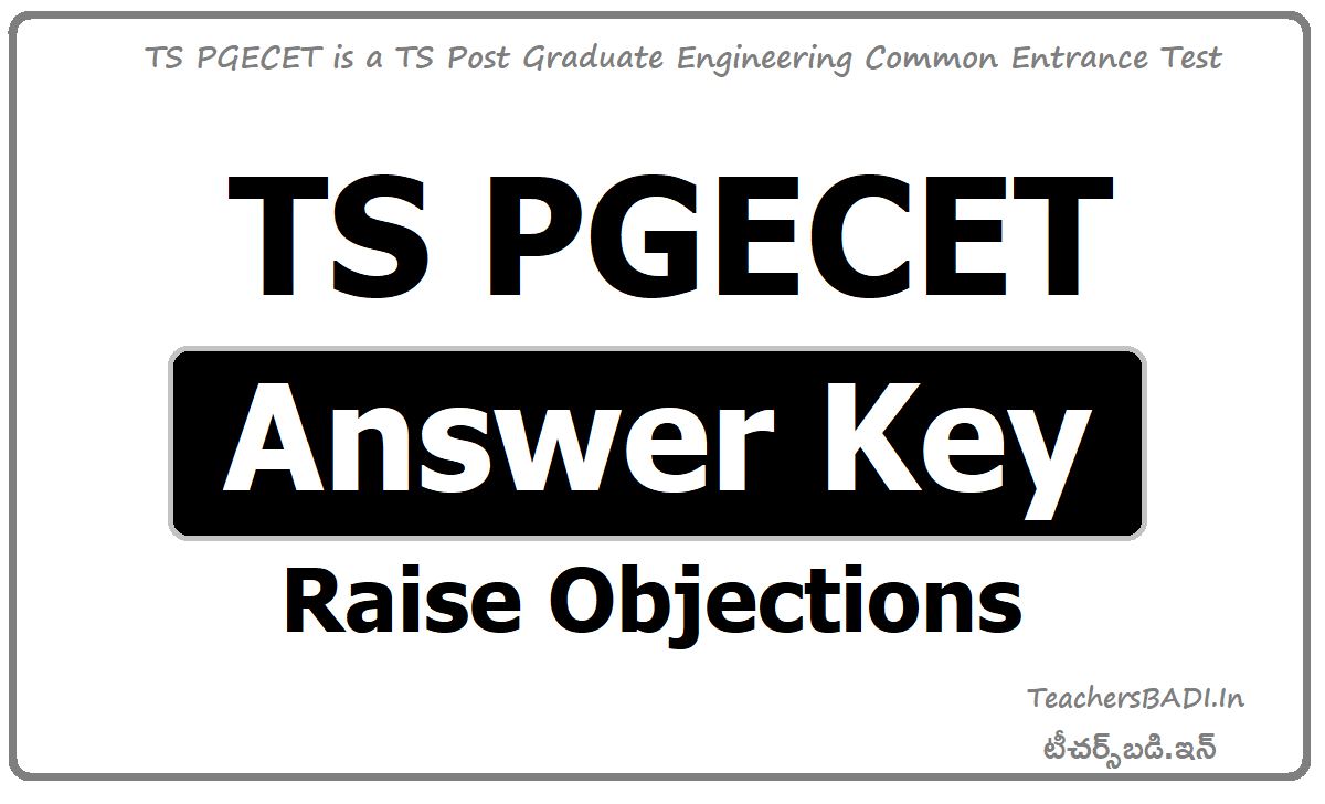 TS PGECET Answer Key and Raise Objections