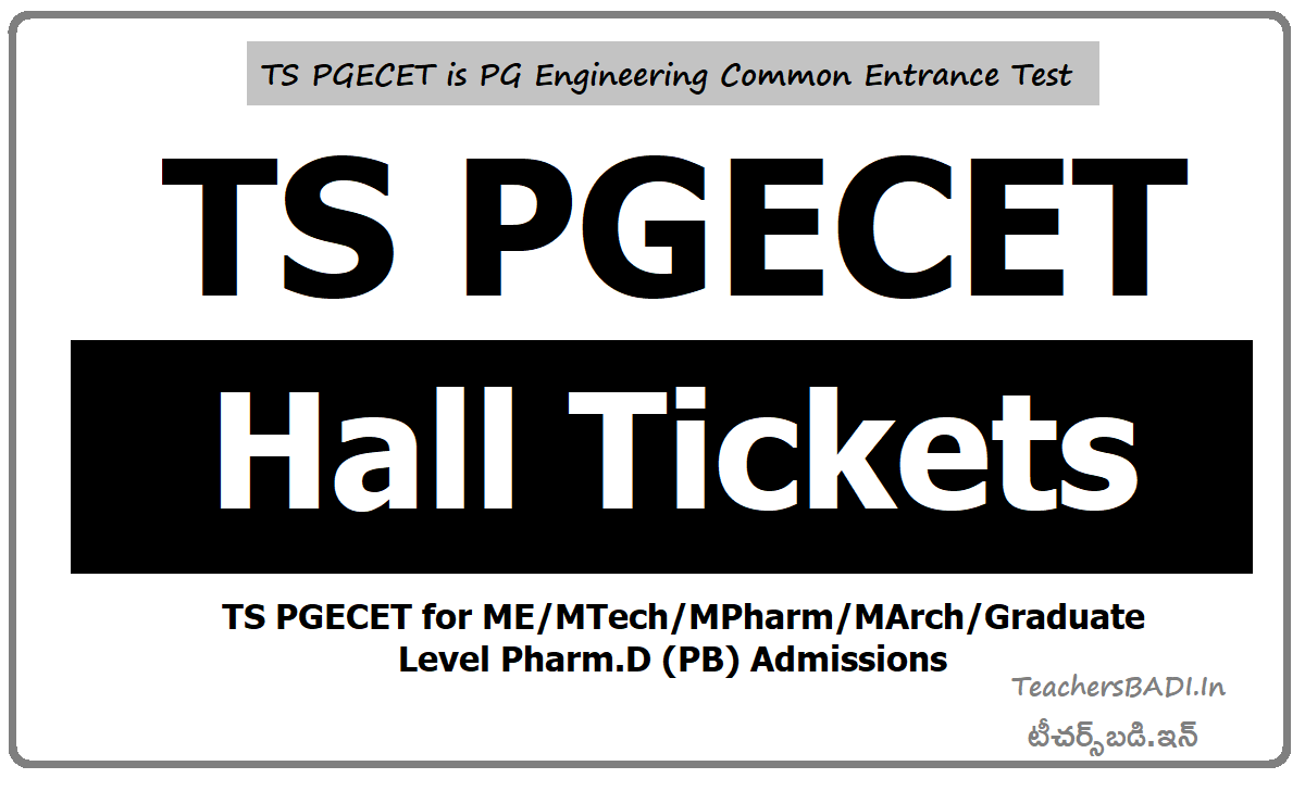 TS PGECET Hall Tickets 2020 & Exam dates