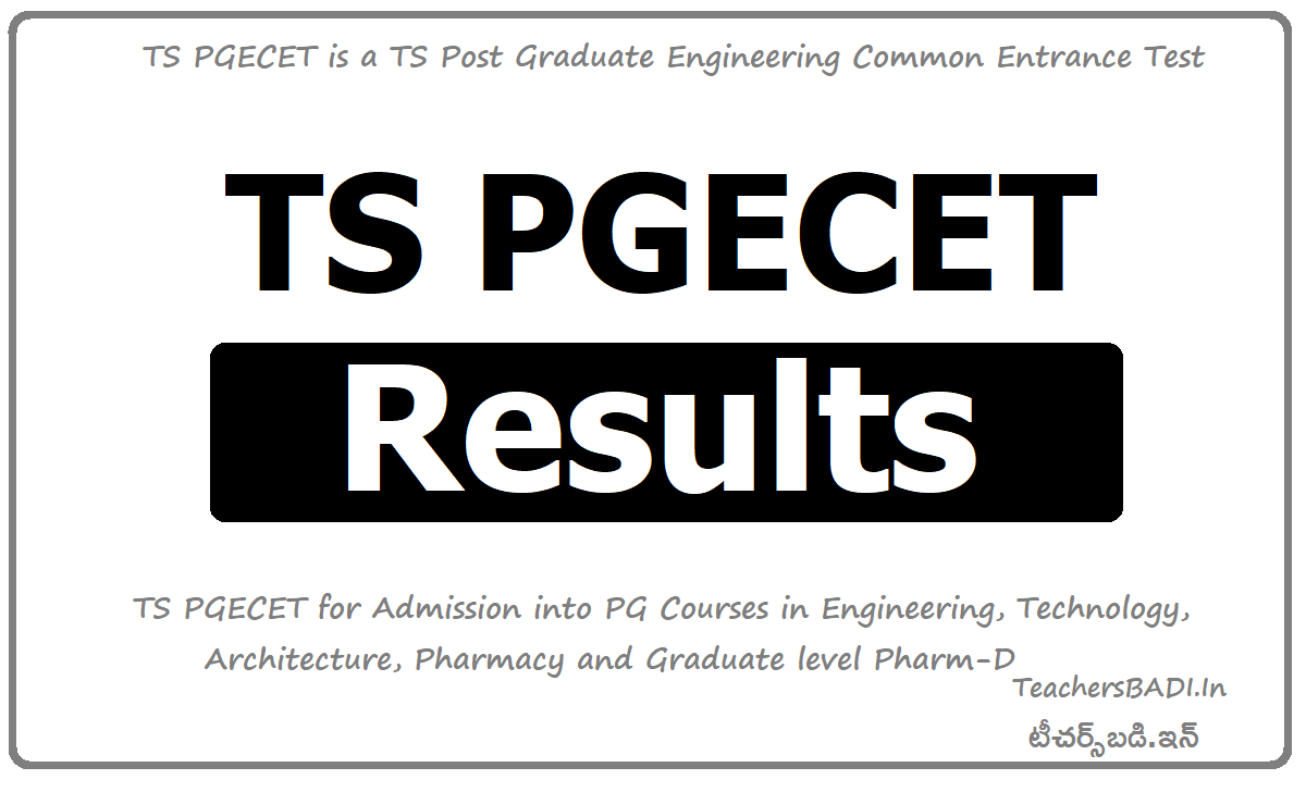 TS PGECET Results & Score Card Download