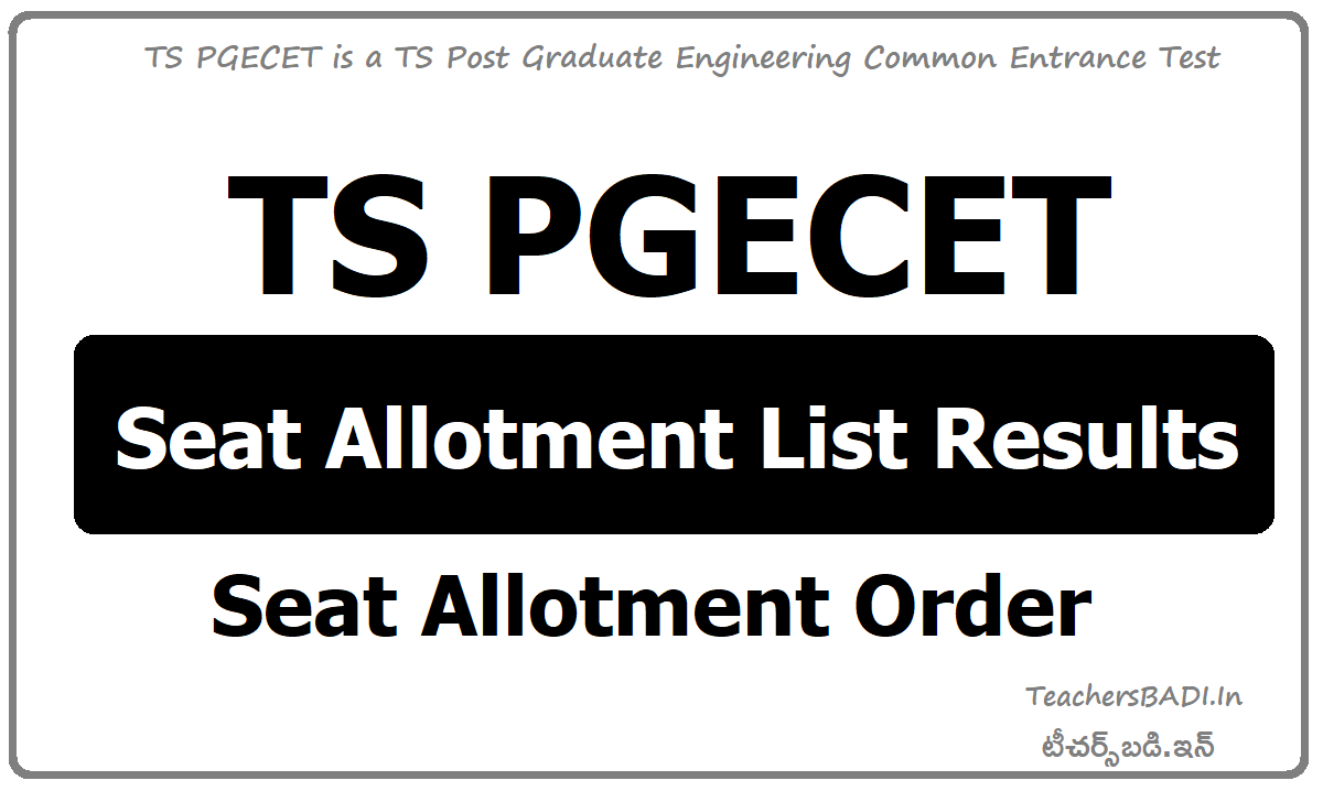 TS PGECET Seat Allotment List & Allotment Order download