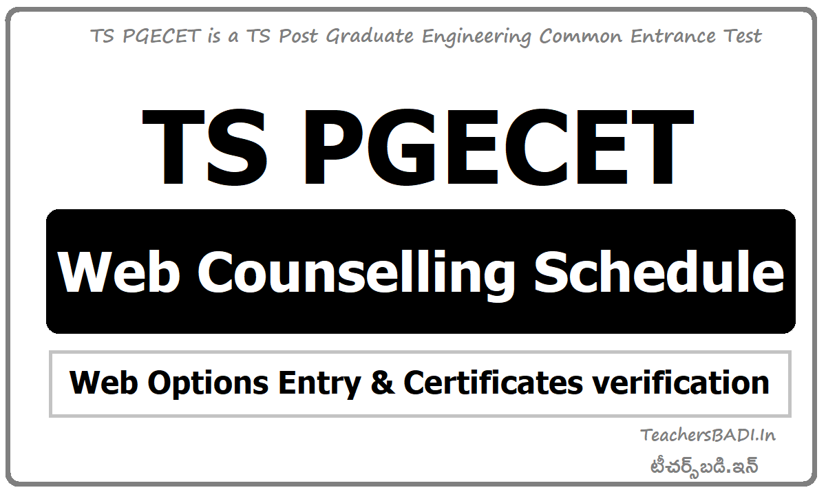 TS PGECET Web Counselling Schedule for Web Options Entry & Certificates verification