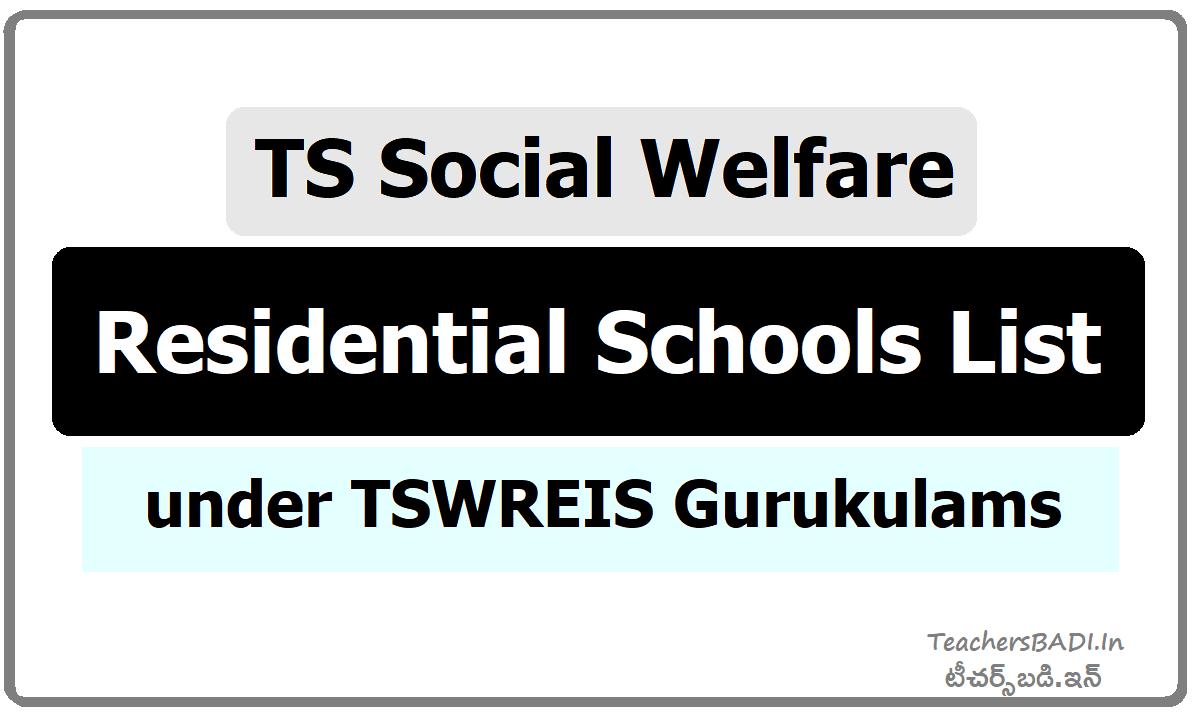 TS Social Welfare Residential Schools list under TSWREIS Gurukulams