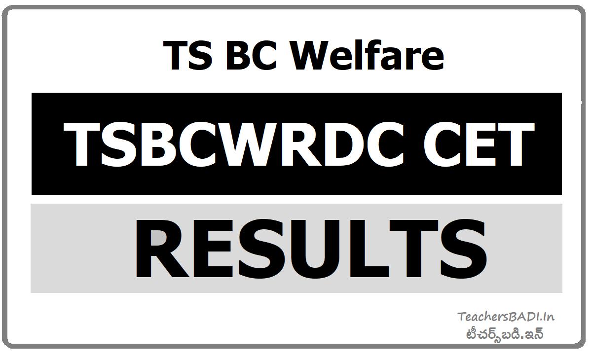 TSBCWRDC CET Results 2021
