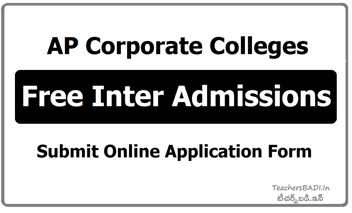 AP Corporate Colleges Free Inter Admissions, Apply Online