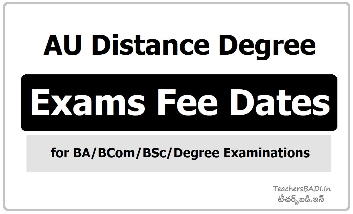 AU Distance Degree Exams Fee Dates