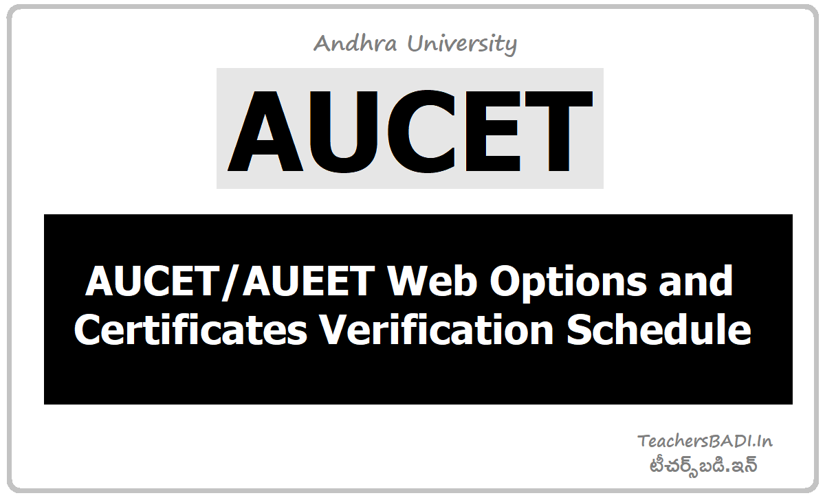 AUCET AUEET Web Options & Certificates Verification Schedule