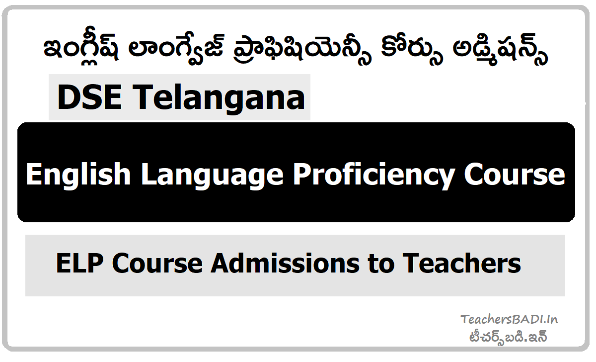 English Language Proficiency Course Admissions 2020 by DSE Telangana to SGTs
