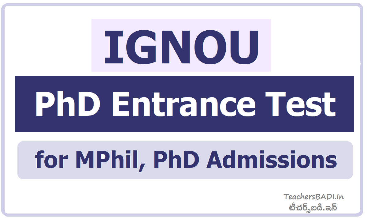IGNOU PhD Entrance Test for MPhil, PhD Admissions