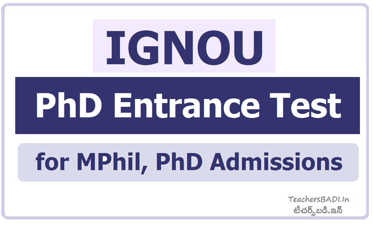 IGNOU PhD Entrance Test for MPhil, PhD Admissions