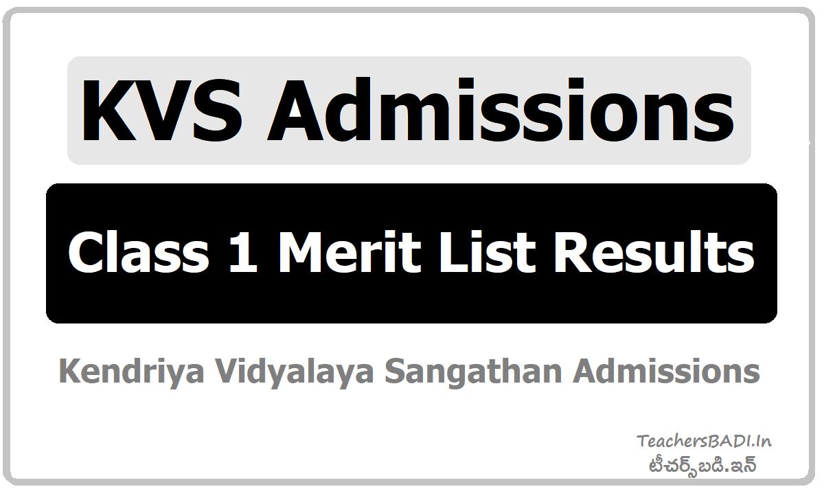 KVS Admissions Class 1 Merit List Results