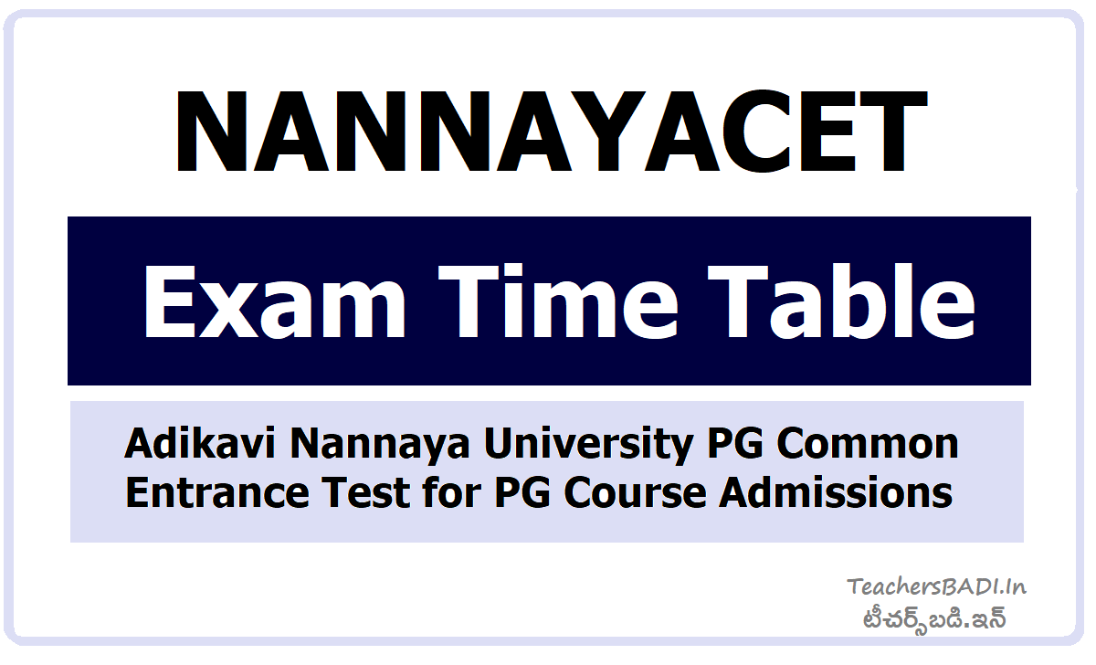 NANNAYACET Exam Time Table