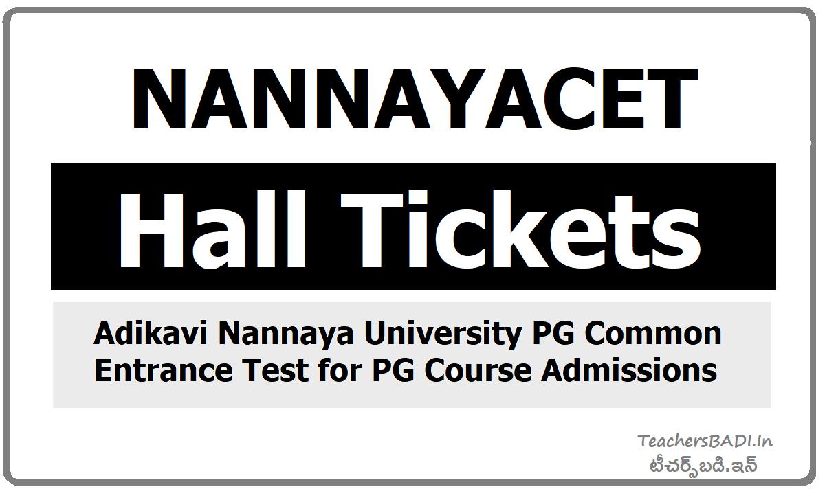 NANNAYACET Hall tickets & Exam dates for Nannaya PGCET