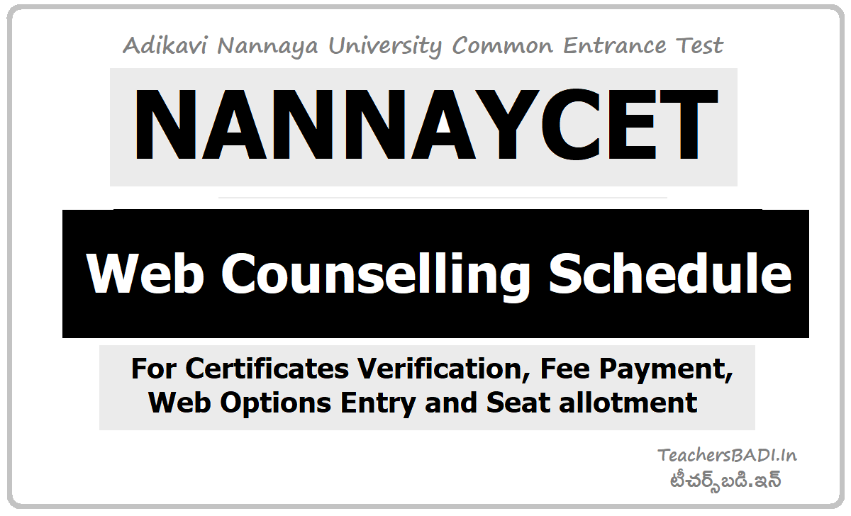 NANNAYCET Web Counselling Schedule for Certificates verification