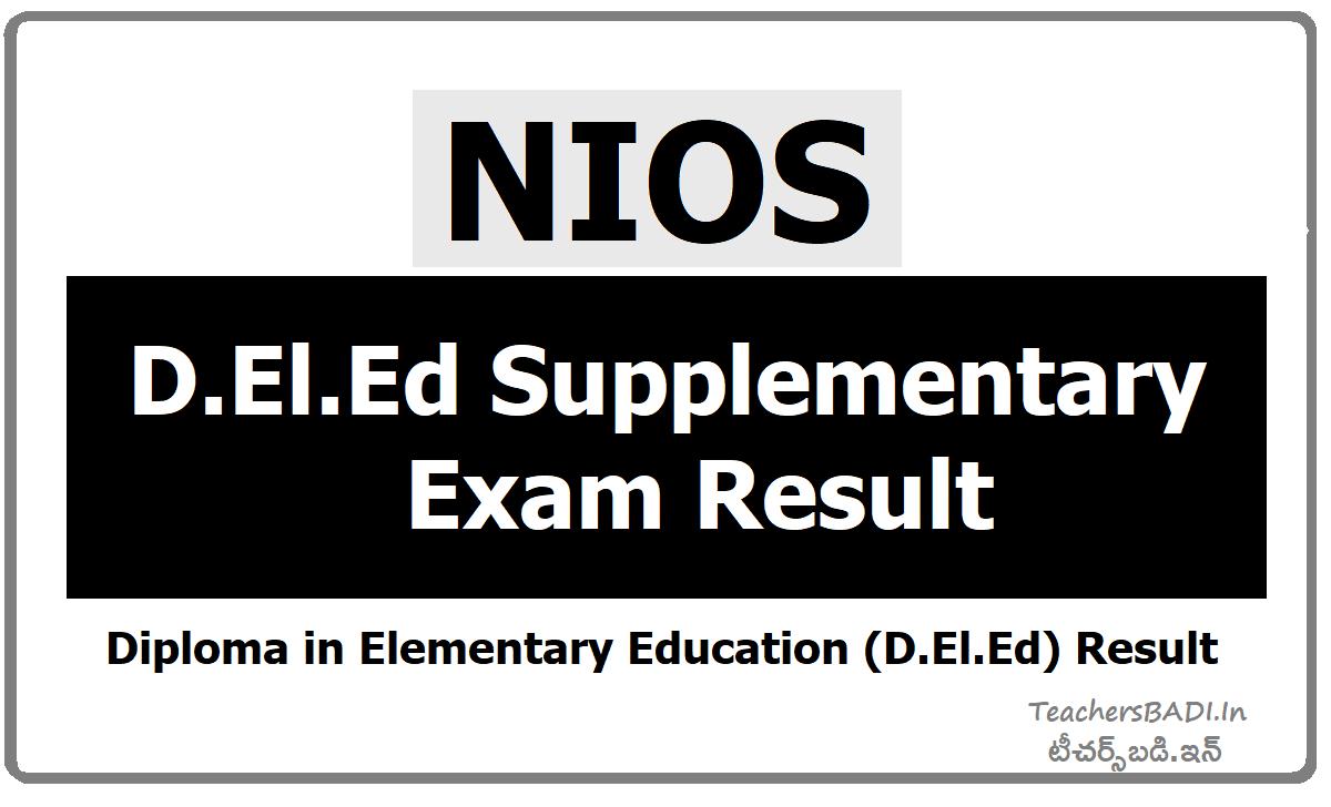NIOS D.El.Ed Supplementary exam Result