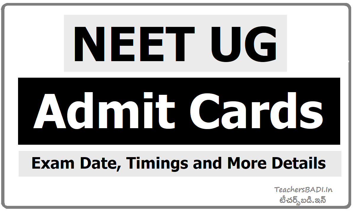 NTA NEET UG Admit Cards