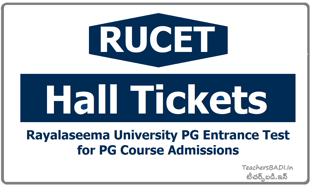 RUCET Hall Tickets & Exam Dates for RUPGCET