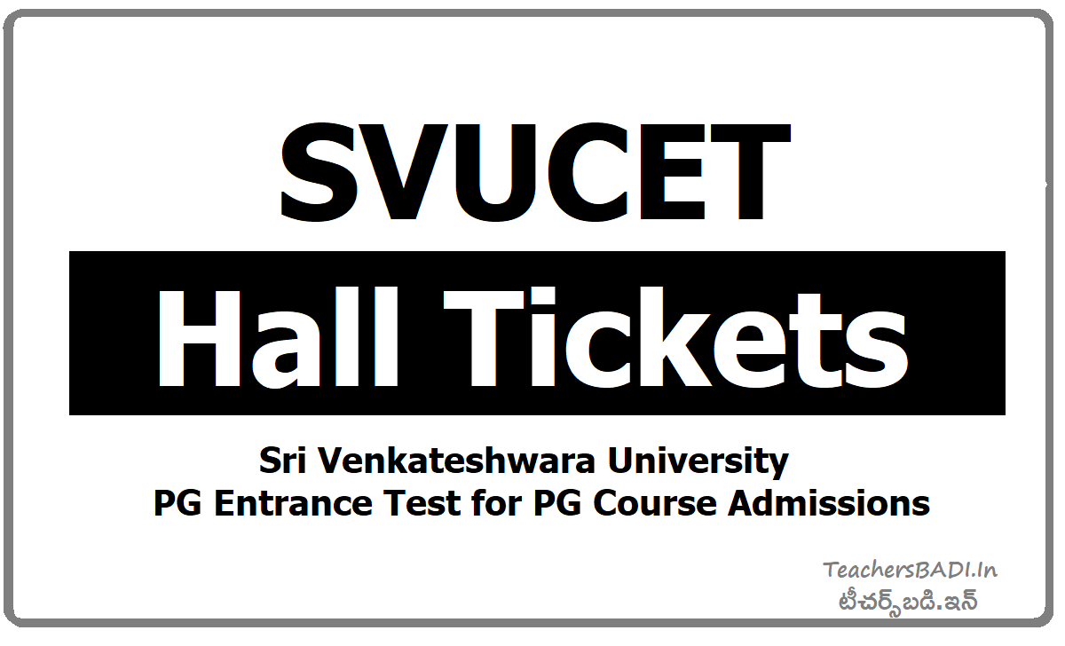 SVUCET Hall Tickets download from SVU PGCET Website