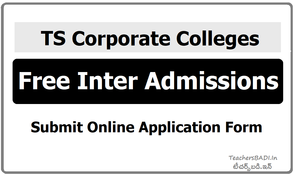 TS Corporate Colleges Free Inter Admissions, Apply Online