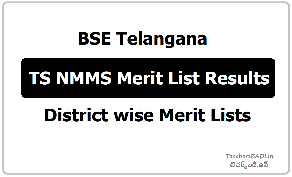 TS NMMS November Merit List Results & District wise Merit Lists