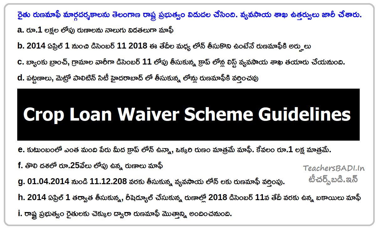 Telangana Crop Loan Waiver Scheme Guidelines
