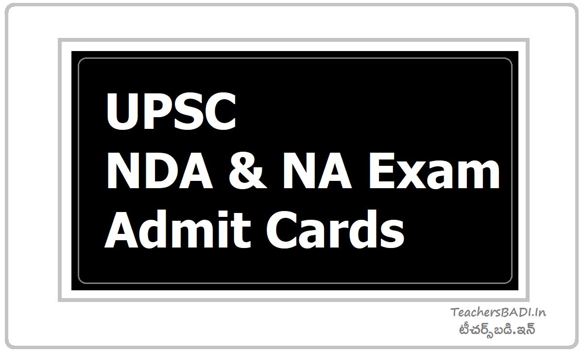 UPSC NDA & NA Exam Admit Cards