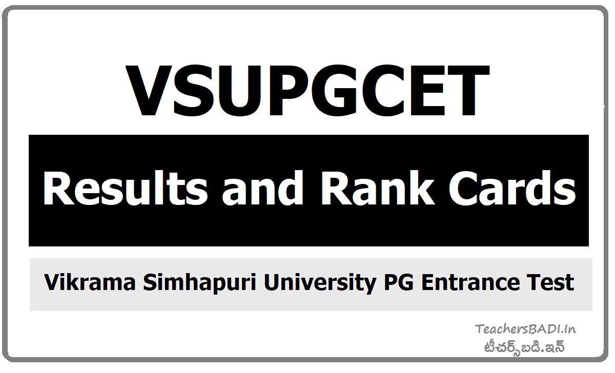 VSUPGCET Results & Rank cards download from VSUCET website