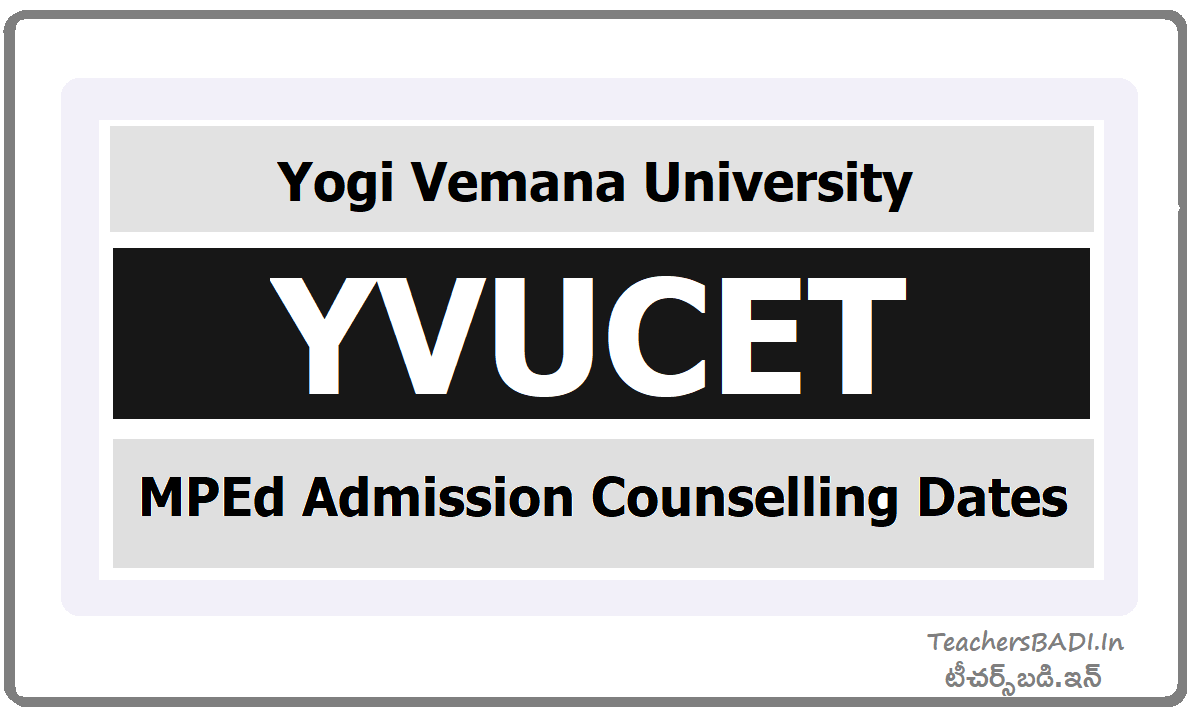 YVU MPEd Admission Counselling Dates (YVUCET)