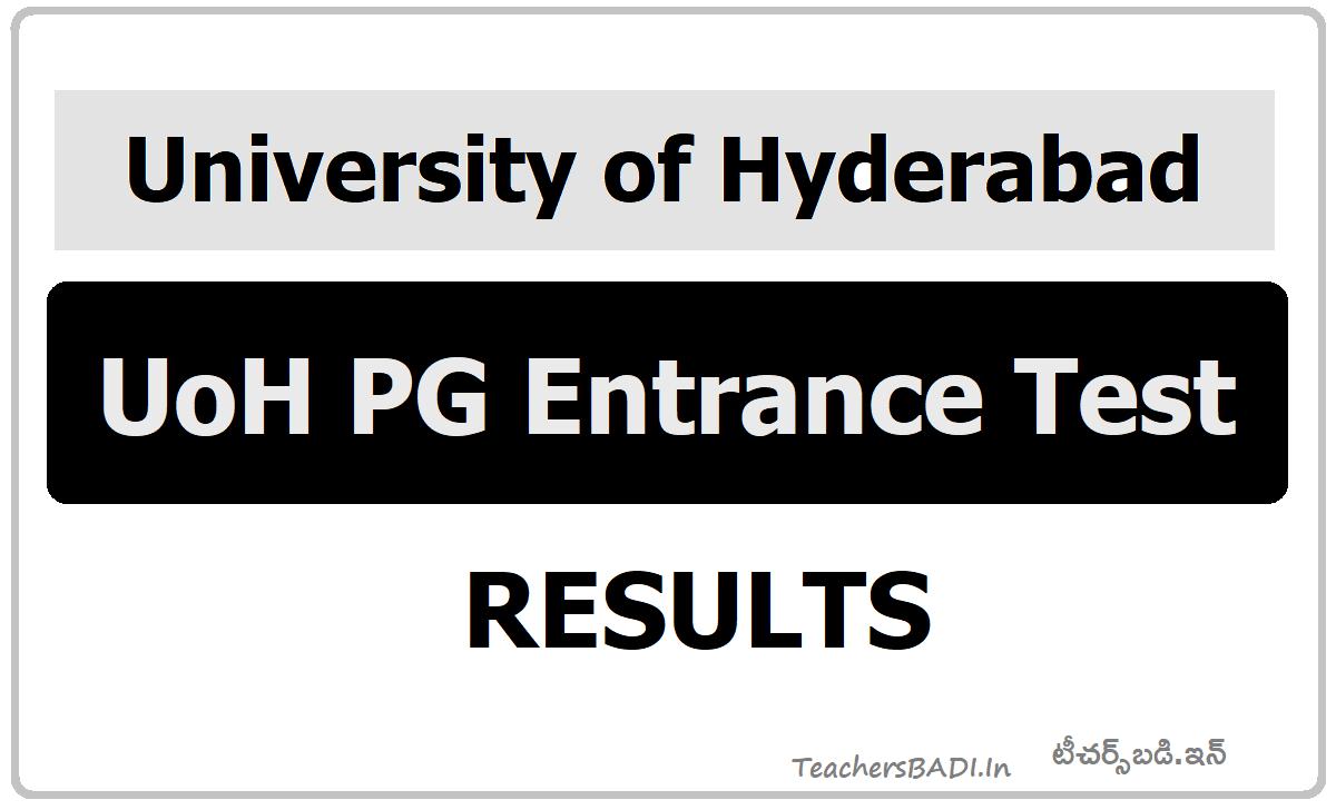 HCU UoH PG Entrance Test Results 2020 (University Of Hyderabad)