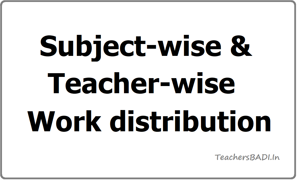 Subject-wise & Teacher-wise Work distribution