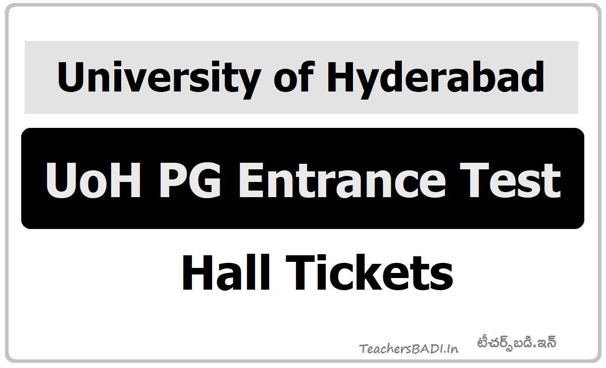 University of Hyderabad PG Entrance Exam Hall tickets 2020 (UoH PG Entrance Test)