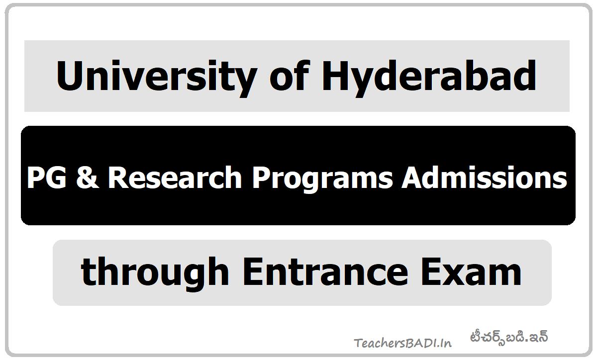 University of Hyderabad PG & Research Program Admissions 2020 through Entrance Exam