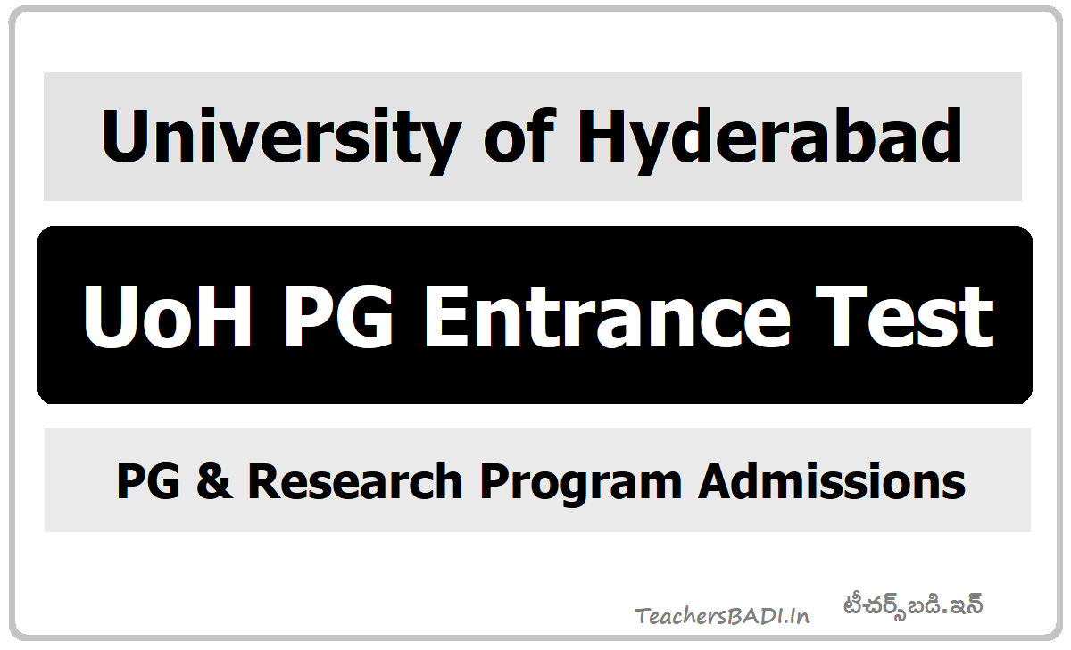 University of Hyderabad UoH PG Entrance Test 2020 for PG & Research Program Admissions