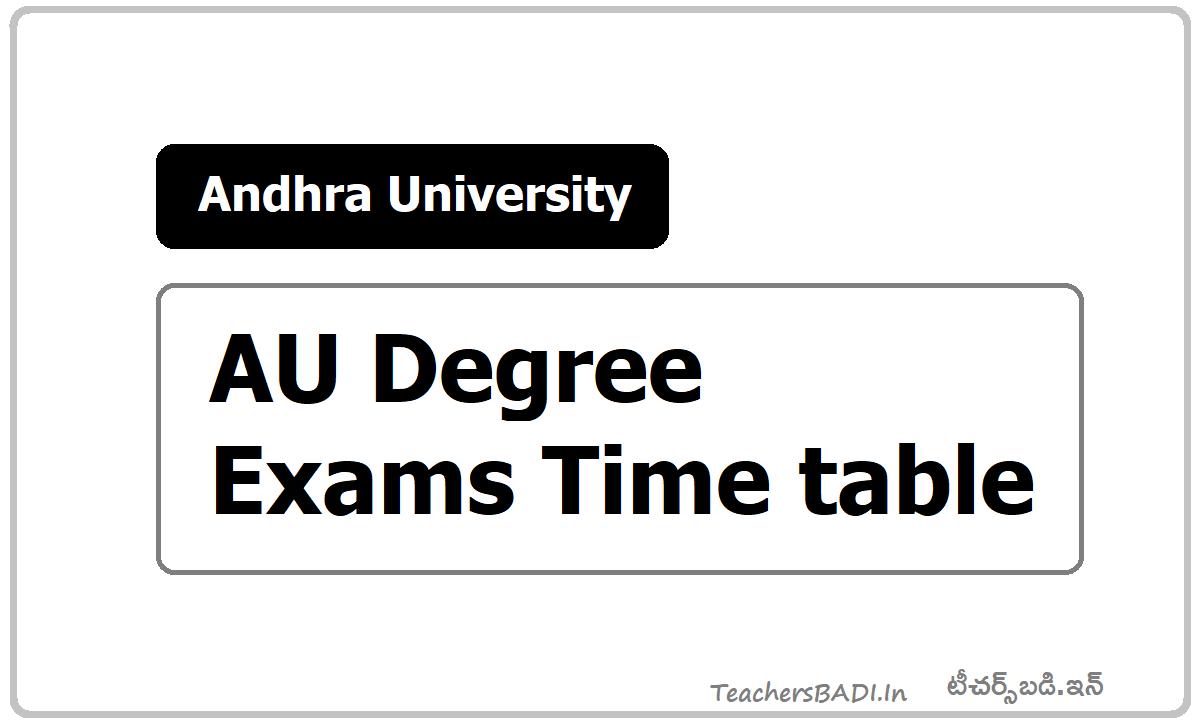 Andhra University AU Degree Exams Time table