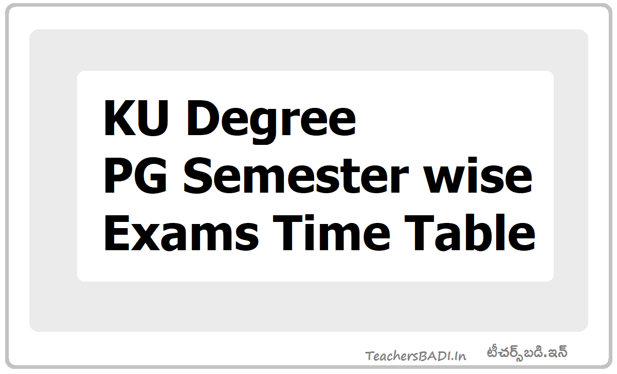 KU Degree & PG Semester wise Exams Time Table 2020