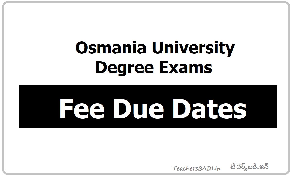 OU Degree Exams Fee Dates