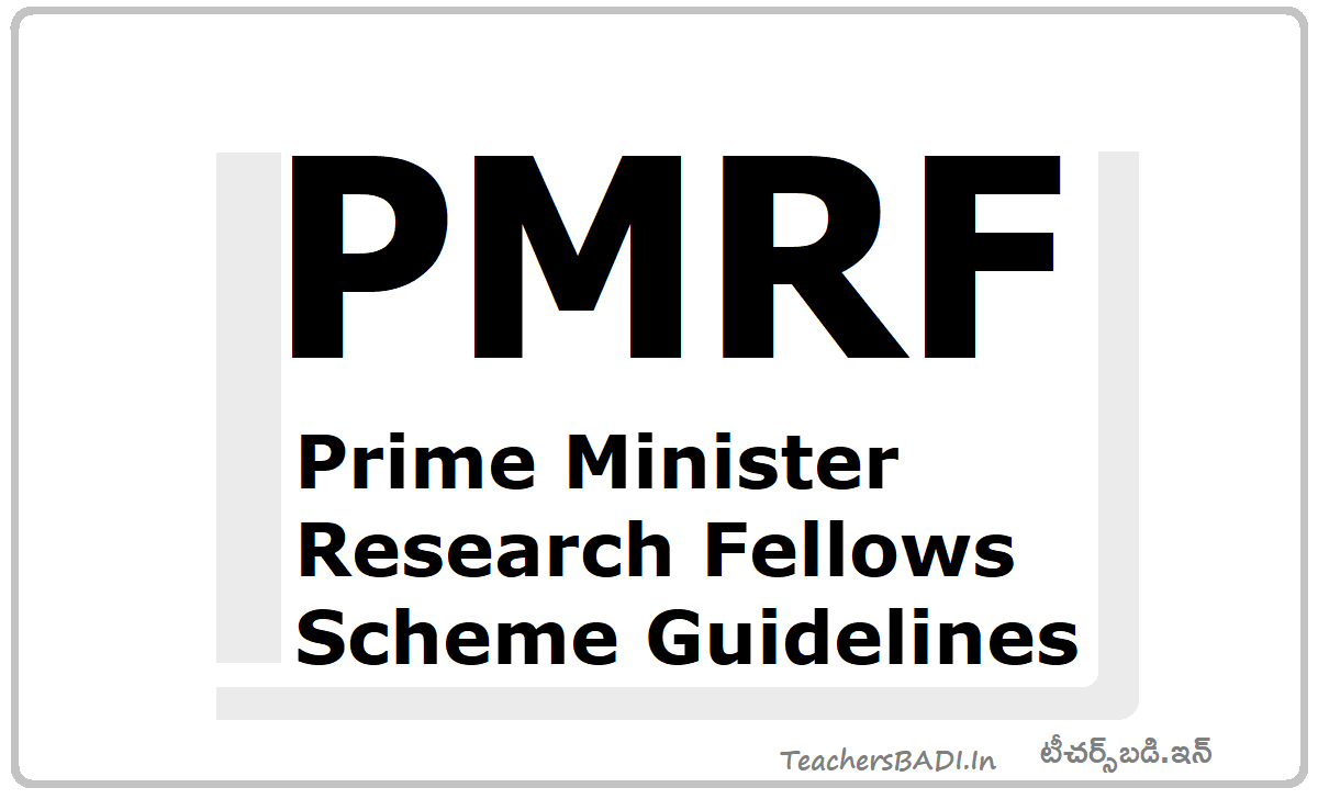 PMRF Prime Minister Research Fellows Scheme Guidelines