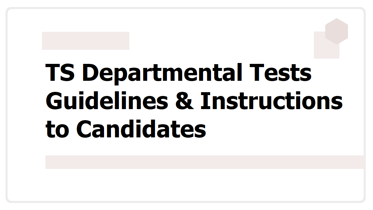 TS Departmental Tests Guidelines & Instructions to Candidates, Hall tickets