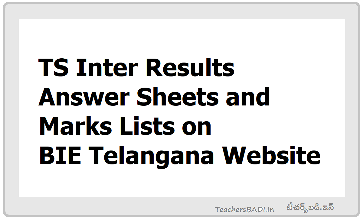 TS Inter Results Answer Sheets, Marks lists 2020 on Inter Board Website
