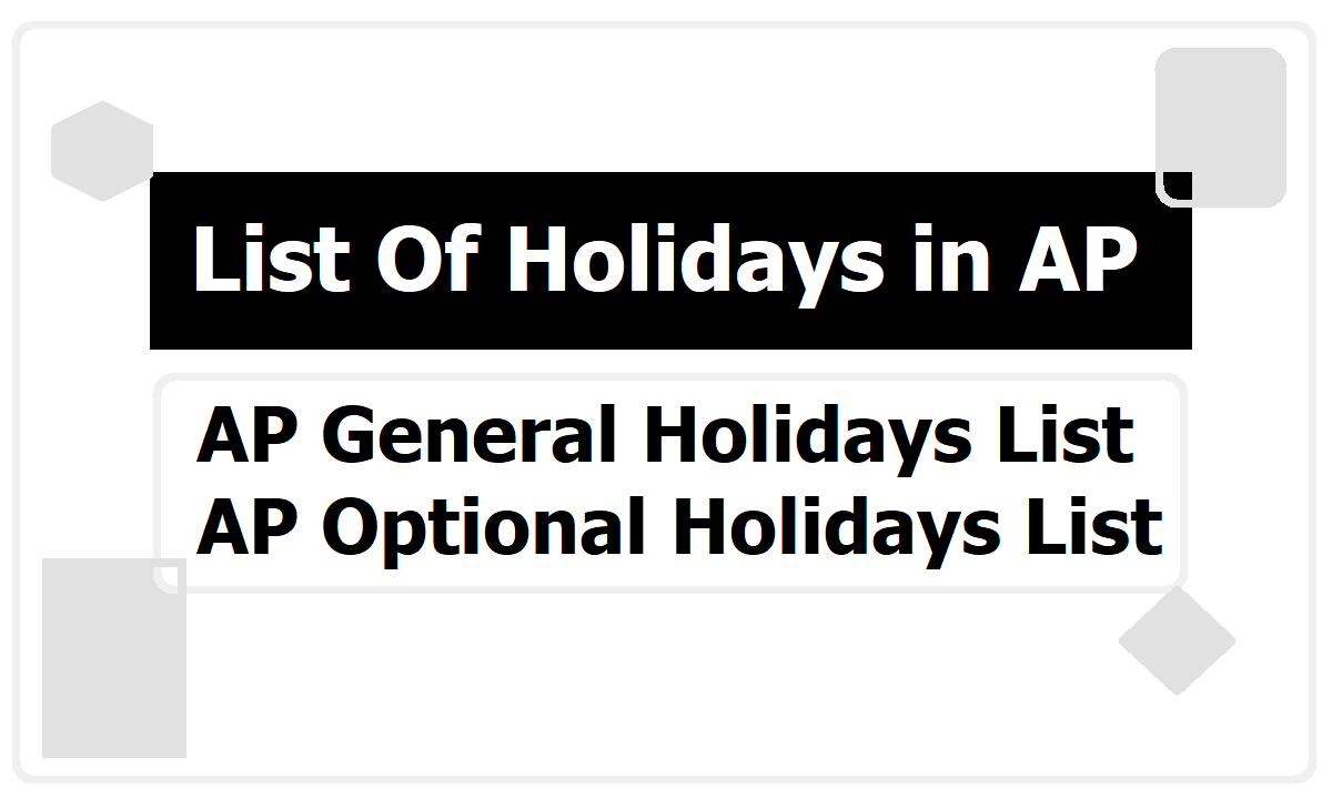 AP General Holidays List and Optional Holidays List for 2020