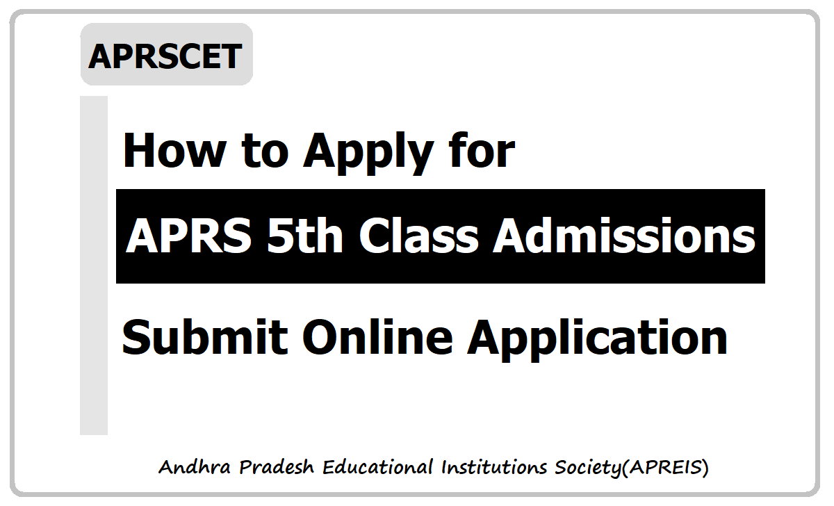 How to Apply for APRS 5th Class Admissions 2020, Submit Online Application at APRJDC Web Portal