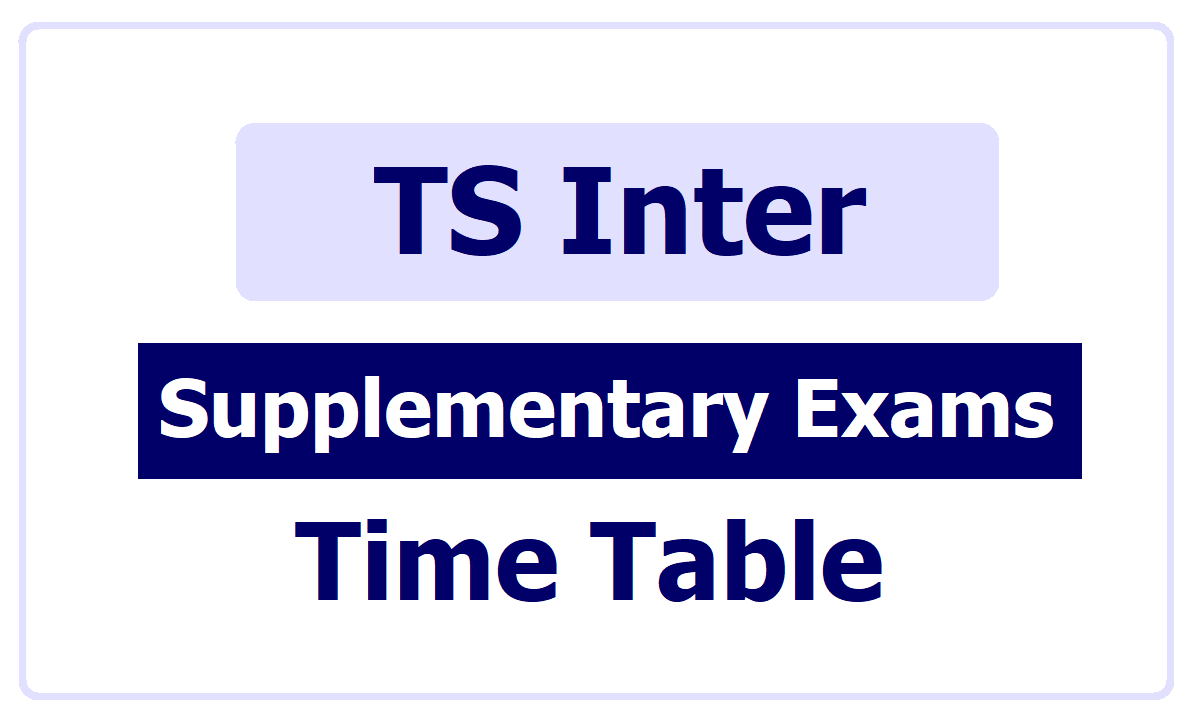 TS Inter Supplementary Exams Time Table  2020