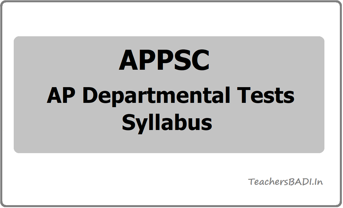 AP Departmental Tests Syllabus