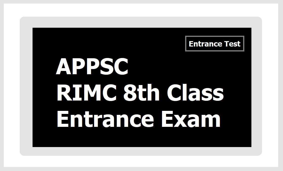 APPSC RIMC 8th Class Entrance Exam 2020 Notification